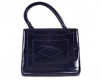 10 DOLLAR SALE---Vintage 60's Navy Blue Vinyl Handbag Geometric Design