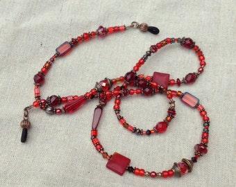 "Antique Copper, Red, Garnet, Ruby, Wine, and Scarlet Eyeglass Lanyard ""Peeper Keeper"" Frippery!"