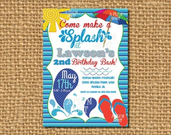 Pool Party, Splash Pad Birthday Party Invitation (Personalized, DIY, 5X7 Printable)