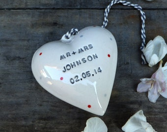 Personalised ceramic heart, wedding gift, personalised wedding present,  Mrs and Mrs Mr and Mr