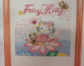 Fairy Kitty - hand counted developed embroidery and charms