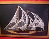 Nautical String Art Sailing Ship Vintage 1970's Modern x