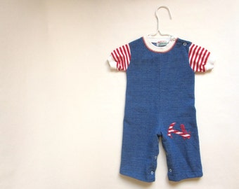 Vintage Baby Outfit : TOOL TIME red white blue romper (9 mos)
