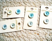 Light Blue Variegated Vintage Buttons on Cards,  Group of Eight on Original Cards