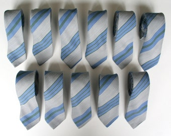 Striped skinny necktie, 80's vintage, washable blue and gray necktie, more available