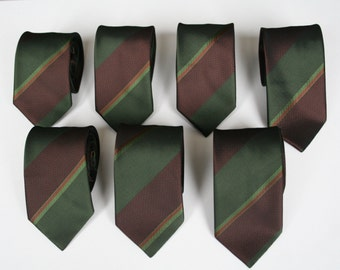 Striped skinny necktie, 80's vintage, washable green and brown necktie, groom and best men neckties, more available