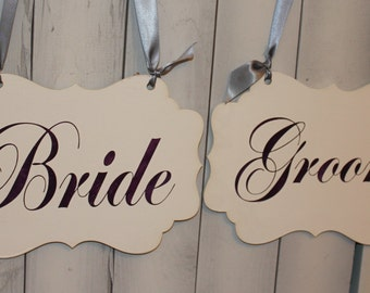 BRIDE - GROOM  Chair Signs/Scallop/Photo Prop/Great Shower Gift/White?Eggplant/Silver/U Choose Colors