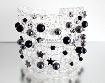 Knitted Wire Bracelet, Black Gemstone Beads, Stars and Swarovski Crystals and Pearls, Silver Wire