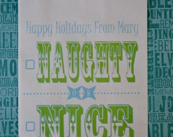 Holiday Favor Bags: 20 Personalized Naughty or Nice Goodie Bags