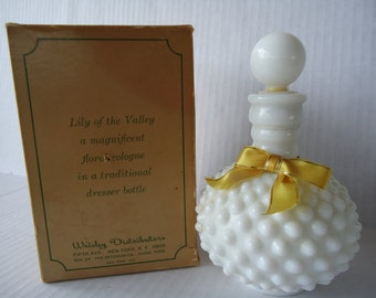 Hob Nail Milk Glass Wrisley Perfume Bottle, Vintage Lily Of The Valley Cologne, Turn Bottle Into A Lamp, 1960s