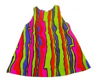 Neon Pyschedelic Stripe Tank Top sz XS