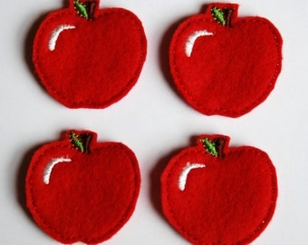 Set of 4 Whole Red Apple Feltie Felt Embellishments