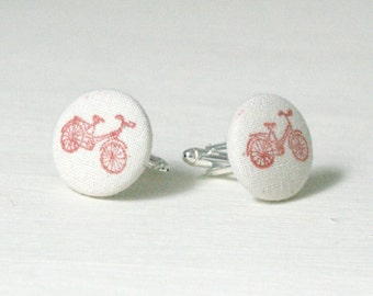 Bicycle Cufflinks, Red Hand Stamped Fabric Cufflinks, Cufflinks for Men, Valentines gift for men