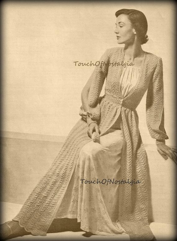 Long Dressing Gown Robe Knitting Pattern Vintage Elegant