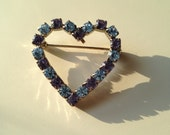 Vintage purple and blue gems silver brooch pin