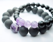 Black Natural Onyx Bracelet Set. Natural Stone Bracelet . Matte and Polished Onyx . Unisex . Amethyst