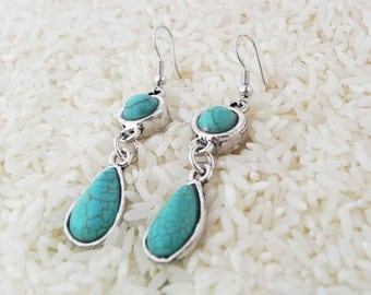 Simple Turquoise Chandalier Earrings jewelry bohemian collection