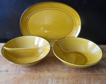 Golden Amber Vernon Ware Bowls and Tray