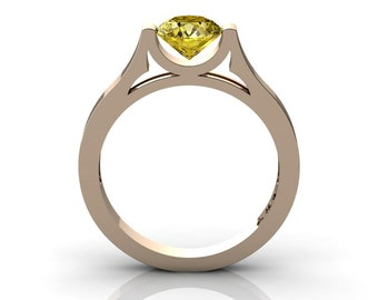 Modern 14K Rose Gold Beautiful Wedding Ring or Engagement Ring for Women with 1.0 Ct Yellow Sapphire Center Stone R665-14KRGYS