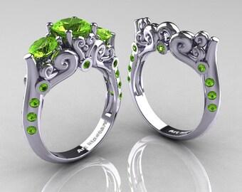 Art Masters 10K White Gold Three Stone Peridot Modern Antique Wedding Ring Set R515S-14KWGP