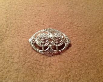 Vintage Sterling Silver Carved Roses Brooch