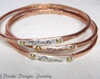 ONE Copper bangle bracelet mixed metal bangle