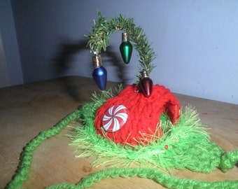 Holiday Dog or Cat Hats Crocheted Christmas Elf Costume with Lights and Peppermint