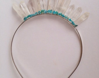 Quartz Crystal Headpiece with turquoise detailing wedding, festival headband , Crystal Crown