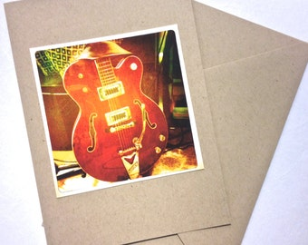 Red Gretsch Electric Guitar Blank Greeting Card