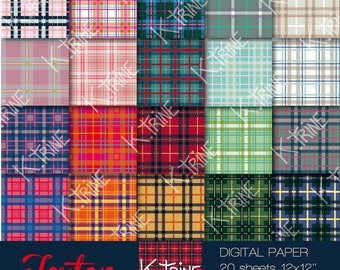 "INSTANT DOWNLOAD  Digital paper ""Tartan"" of 20 sheets  for scrapbooking, tag, invitation, decoration..."