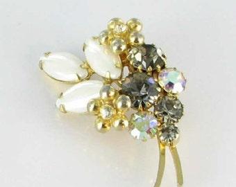 Fabulous Vintage Translucent white glass Teal Rhinestone Brooch Pin Filigree broach