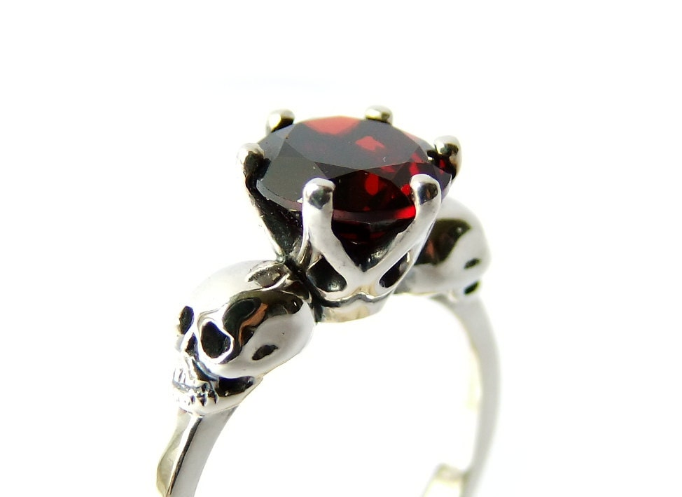 Skull Jewel Ring Silver Red Garnet Sterling Goth Engagement
