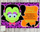 Printable Halloween Party Invitation Girl Dracula Bats Custom JPG PDF Party Invite Children Kid Birthday Party Supplies Costume Party