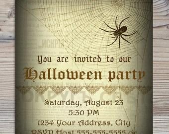INSTANT DOWNLOAD diy Vintage Halloween Party Printable Invitation Spider Invite costume party Girl Boy Birthday Supplies 5x7 PDF