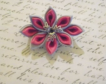 Silver and Coral Kanzashi Flower Brooch