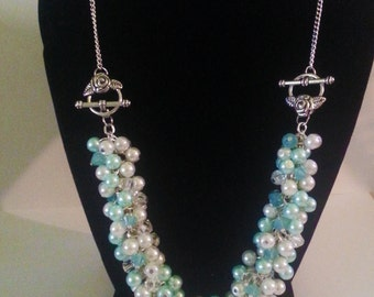 Light Blue and White Pearl Beaded 2 in 1 Necklace/Bracelet