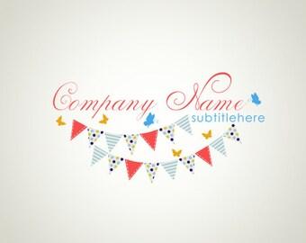 Premade Logo Design and Watermark Bunting logo Butterfly logo Cute logo Custom Logo Business Logo Photography Logo