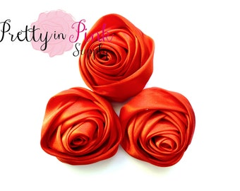 """Large Red Satin Rolled Rosettes...You Choose Quantity...Rolled Rosettes...2.5"""" Rolled Rosettes...Rosettes"""