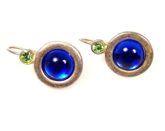 Blue Acrylic Cab Green Rhinestone Lever Back Earrings