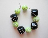 SALE - Wine Charm 4-Piece Set - Dice Charm w Turquoise, Lime Green, Yellow, Silver-White Beads