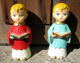 Vintage Pair of Chalkware Choir Boys