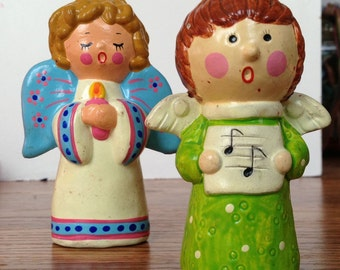 Set of Adorable Bright Singing Christmas Angels