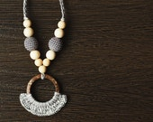 SALE read on ship Eco-friendly Teething/ Nursing necklace for breastfeeding Mom Sling accessories - gray colors - wood beads Gift under 10