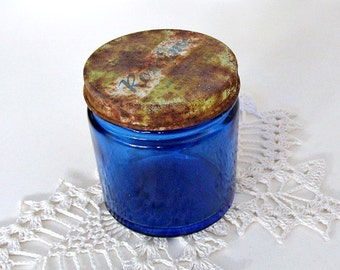 Vintage Rex Eme Skin Cream Blue Jar With Rustic Lid