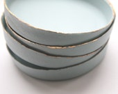Stoneware Parian porcelain jewelry dish in pale duck egg blue with mat gold rims - trinket dish - ring dish