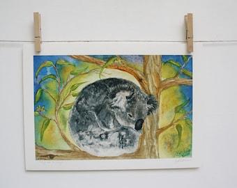 """Archival Giclee Print 5"""" x 7"""" - Snug as a Bug - Cute Koala Art Nursery Decor"""