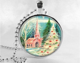 PINK CHRISTMAS Necklace, Pink Church, Christmas Tree, Christmas Necklace, Christmas Jewelry, Vintage Christmas, Pink Shabby Christmas