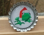 Jolly Holiday Frog Bottle Cap Pin