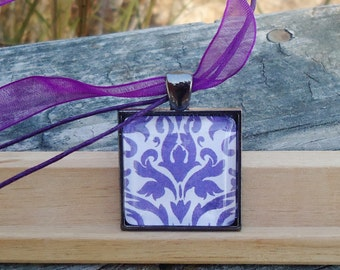Purple and Vintage, Modern meets Antique Pattern, Classic Glass Pendant