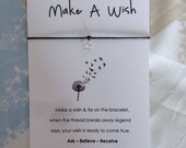 Wish String Bracelet 'Make a wish' love card Friendship Charm Bracelet WC26